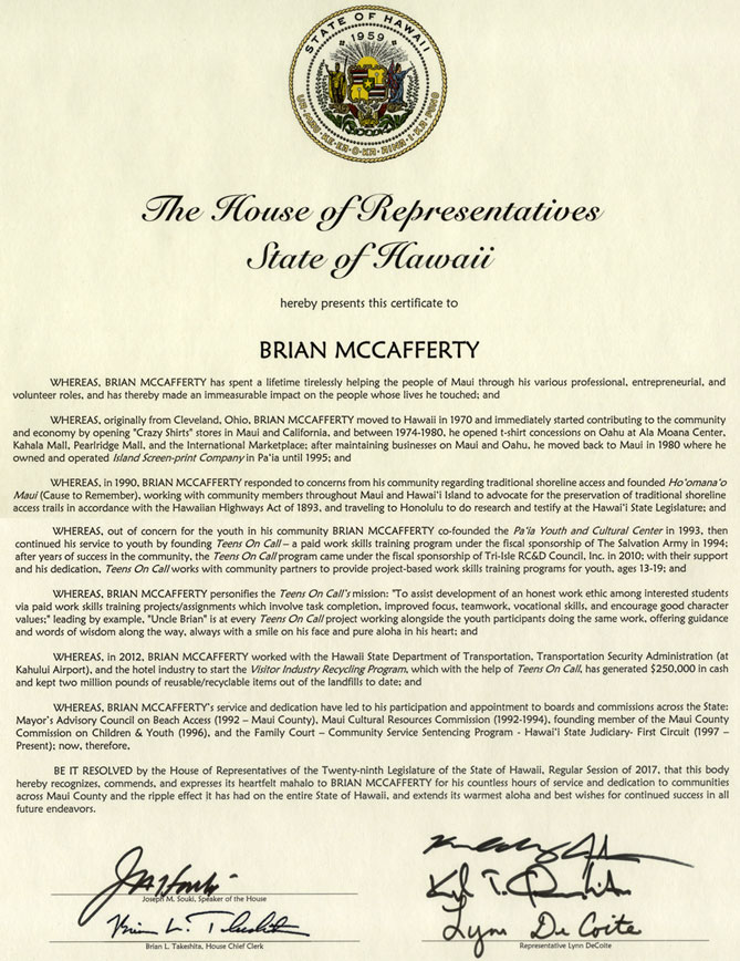 2017 Resolution 158 Award from Hawaii State to Brian McCafferty
