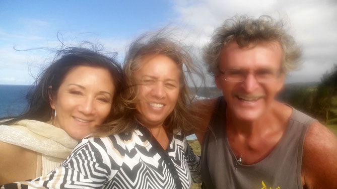 Carol Reimann & Rep Lynn DeCoite with Brian McCafferty in Peahi, Maui